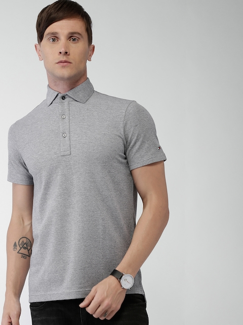 Tommy Hilfiger Men Grey Solid Polo T-shirt
