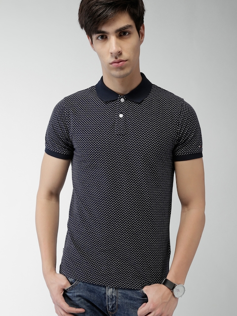 Tommy Hilfiger Navy Printed Slim Fit Polo  T-Shirt