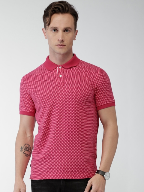 Tommy Hilfiger Men Pink Printed Polo T-shirt