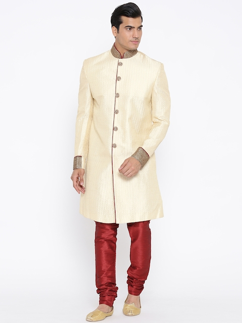 Manish Creations Cream-Coloured & Red Brocade Pattern Handicraft Sherwani