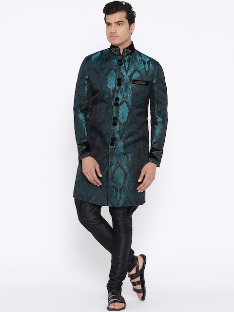 Manish Creations Teal Green & Black Brocade Pattern Handcrafted Sherwani