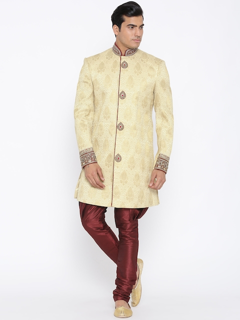 Manish Creations Cream-Coloured & Red Brocade Pattern Handcrafted Sherwani