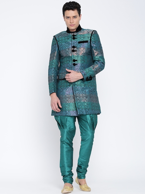 Manish Creations Teal Green Brocade Pattern Handicraft Sherwani