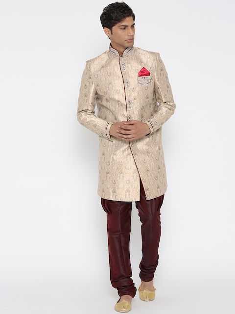 Manish Creations Beige Brocade Embellished Handicraft Sherwani