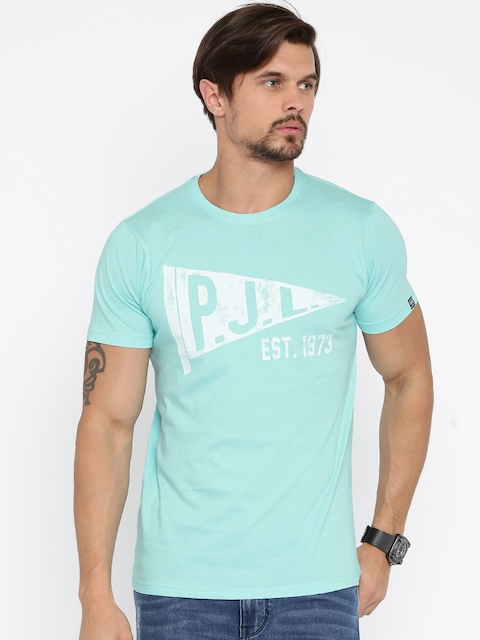 Pepe Jeans Blue Printed Slim Fit T-Shirt  available at myntra for Rs.479