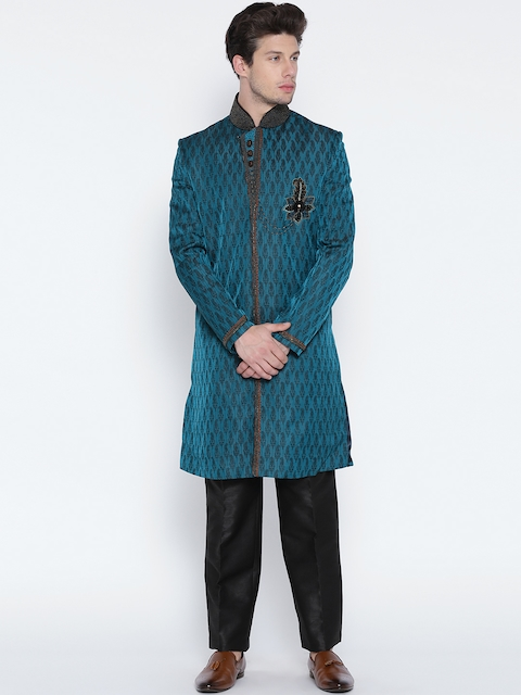 Manish Creations Teal Blue & Black Brocade Pattern Handcrafted Sherwani