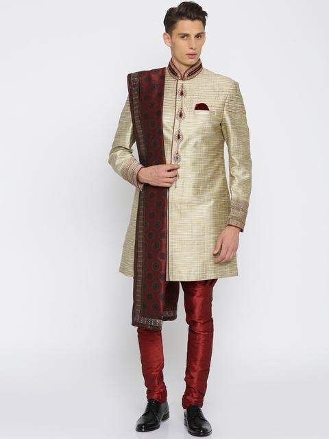 Manish Creations Beige & Red Brocade Pattern Handicraft Sherwani