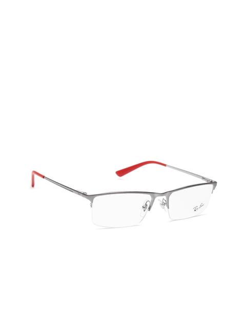 Ray-Ban Men Gunmetal-Toned Half-Rim Rectangular Frames 0RX6391I255355-2553
