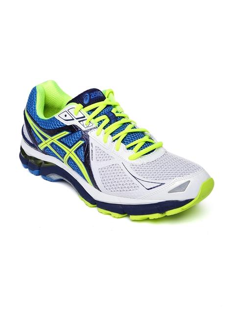 ASICS Men White & Blue Running Shoes