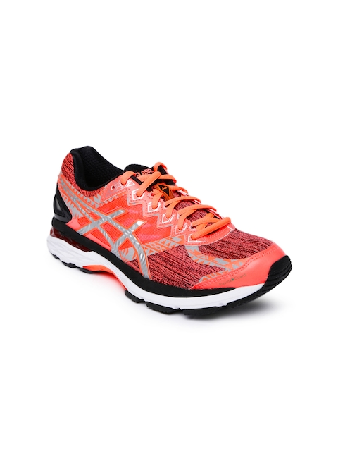 ASICS Women Neon Orange & Pink Running Shoes