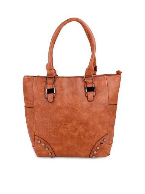 Satchel Bags Tan Brown Textured Shoulder Bag