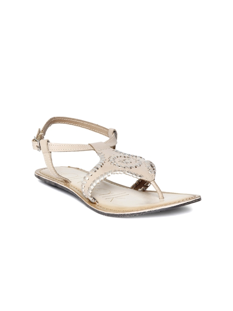 Catwalk Women Beige & Silver-Toned Leather Flats