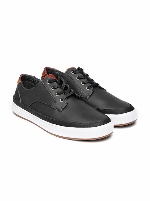 ALDO Men Black Solid Leather Derbys