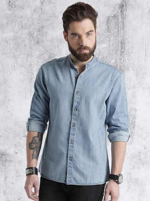 RDSTR Men Blue Solid Denim Shirt