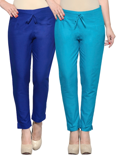 Tulsattva Pack of 2 Blue Tapered Fit Trousers