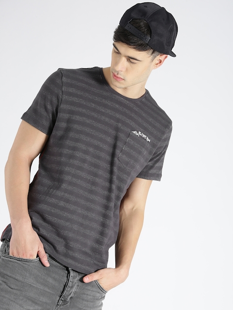 s.Oliver Men Charcoal Grey Striped Round Neck T-Shirt