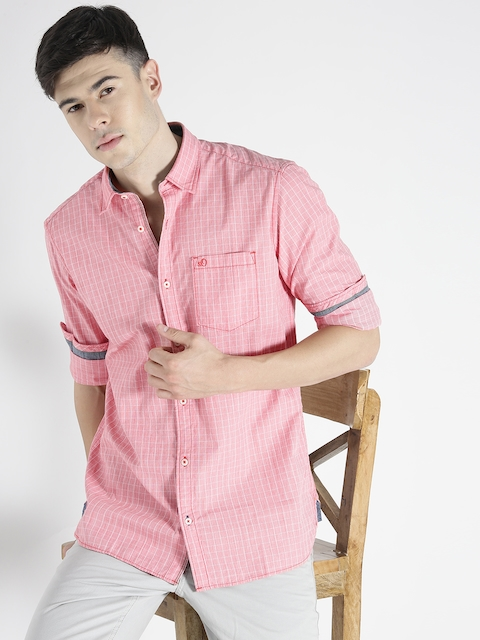 s.Oliver Men Coral Red Checked Casual Shirt