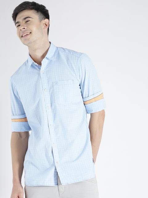 s.Oliver Men Blue Self-Checked Casual Shirt