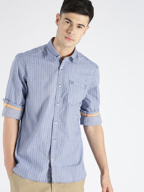 s.Oliver Men Blue Checked Casual Shirt