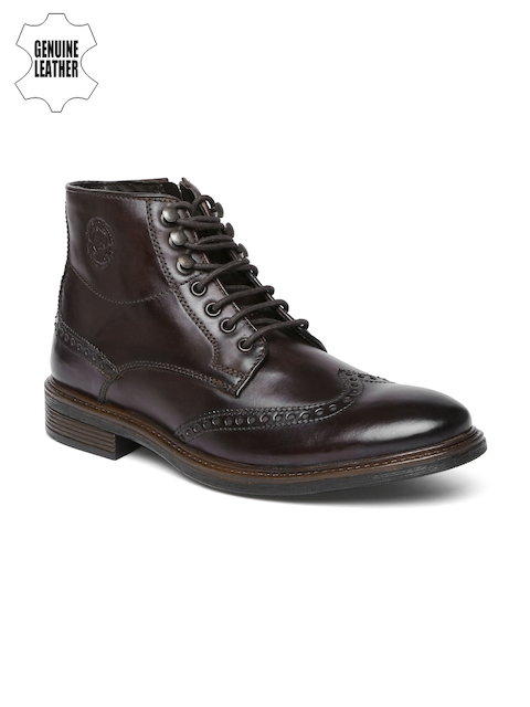 U.S. Polo Assn. Men Brown Genuine Leather High-Top Flat Boots