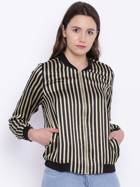 ONLY Women Black & Beige Striped Bomber Jacket