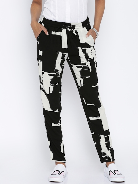 ONLY Women Black & Off-White Printed Regular Fit Trousers