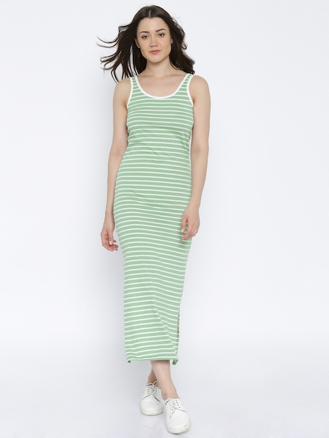 Vero Moda Women Green & White Striped Maxi Dress