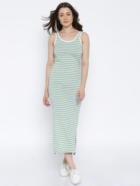 Vero Moda Women Green & White Striped Maxi Dress