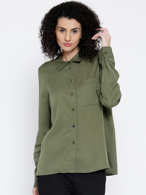 Vero Moda Women Olive Green Solid Casual Shirt