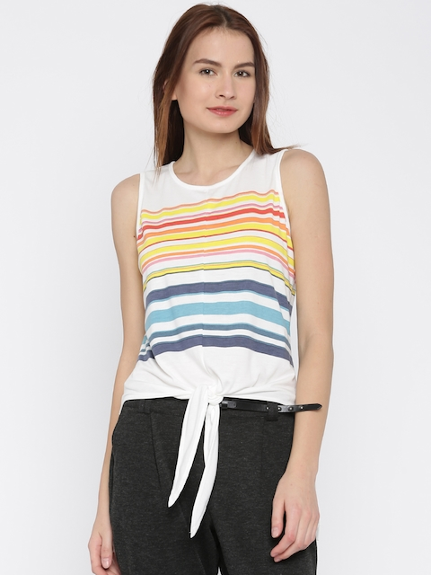 Vero Moda Women White Striped Top