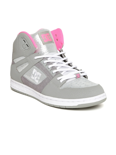 DC Women Grey Solid Mid-Top Sneakers