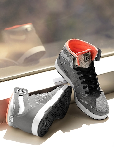 DC Women Grey Mid-Top ARGOSY HIGH SE J SHOE Leather Sneakers