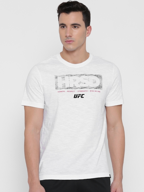 Reebok Men White UFC FG HRSD Printed Round Neck Mixed Martial Arts T-shirt