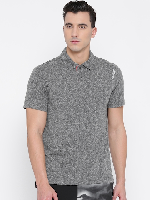 Reebok Men Grey Melange M'S CO Solid Training Polo 1 T-shirt