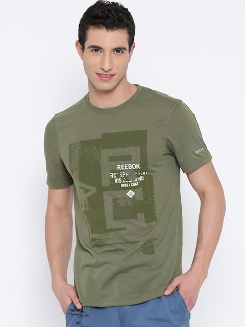Reebok Men Olive Green Combat Printed Round Neck Mixed Martial Arts T-shirt
