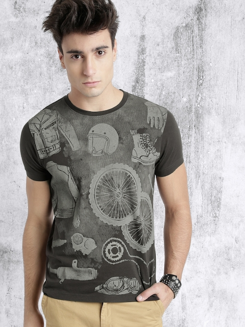 RDSTR Men Charcoal Grey Printed T-shirt