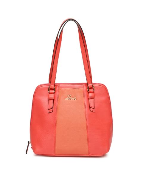 Lavie Coral Red Textured Shoulder Bag
