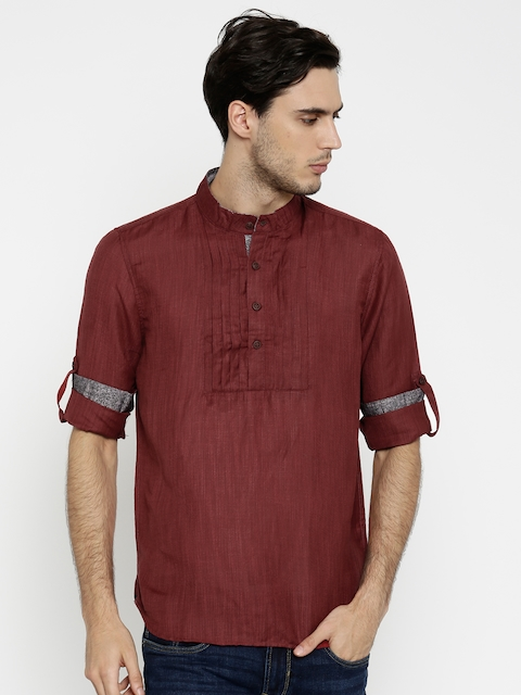 The Indian Garage Co Men Maroon Slim Fit Short Kurta  available at myntra for Rs.519