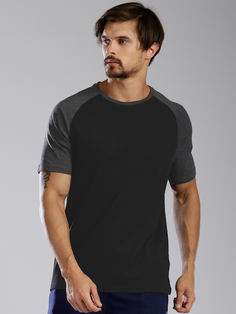 Kappa Men Black Solid Round Neck T-shirt