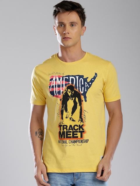 Kappa Men Yellow Printed T-shirt