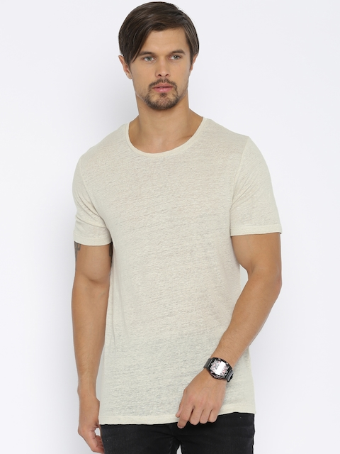 Jack & Jones Men Beige Solid Linen Round Neck T-shirt