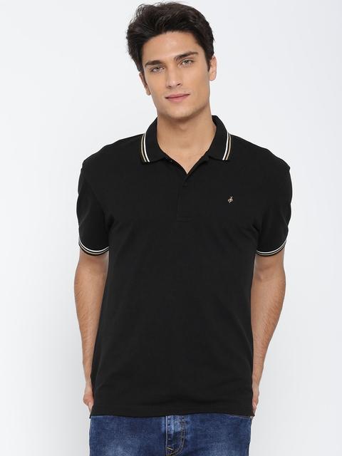 John Players Men Black Solid Slim Polo Collar T-shirt