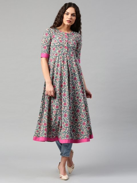 Libas Women Cream-Coloured & Pink Printed Anarkali Kurta  available at myntra for Rs.629