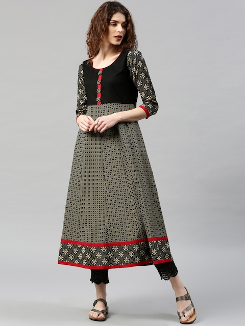 Libas Women Black & Beige Printed Anarkali Kurta  available at myntra for Rs.599