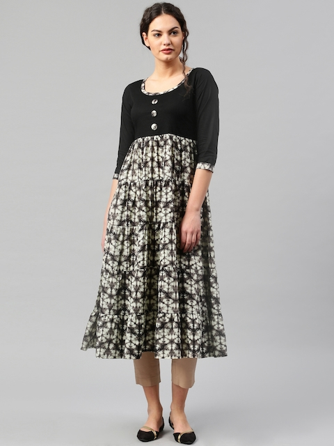 Libas Women Black & Off-White Printed Anarkali Kurta  available at myntra for Rs.599