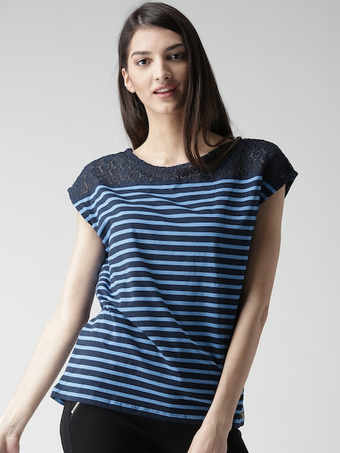 Tommy Hilfiger Women Blue Striped Top