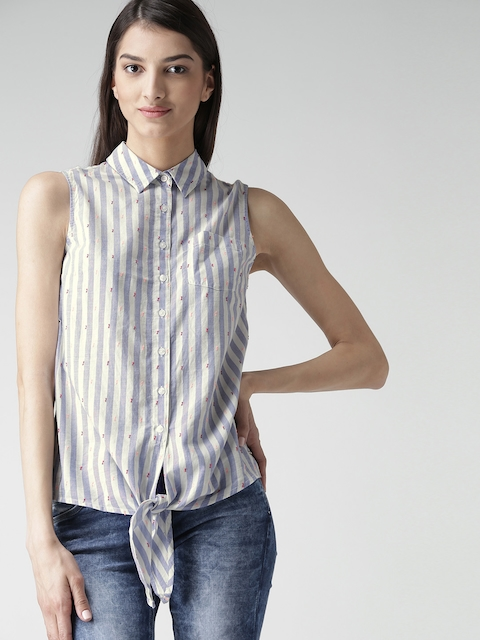 Tommy Hilfiger Women White Striped Casual Shirt