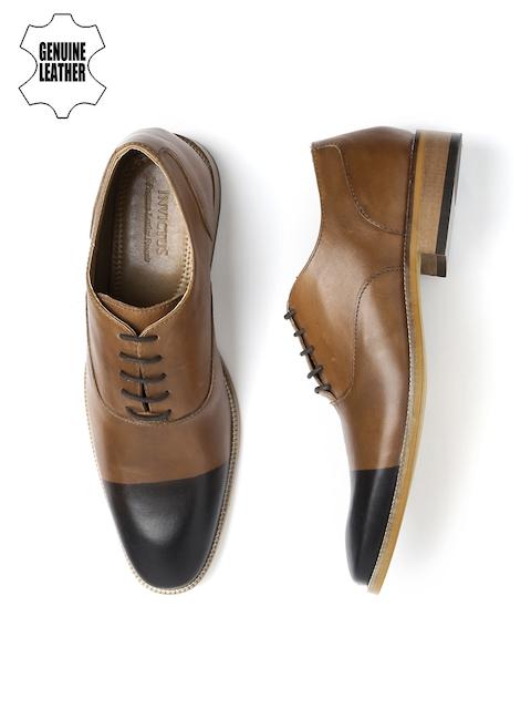 INVICTUS Men Tan Brown & Black Colourblocked Leather Oxfords