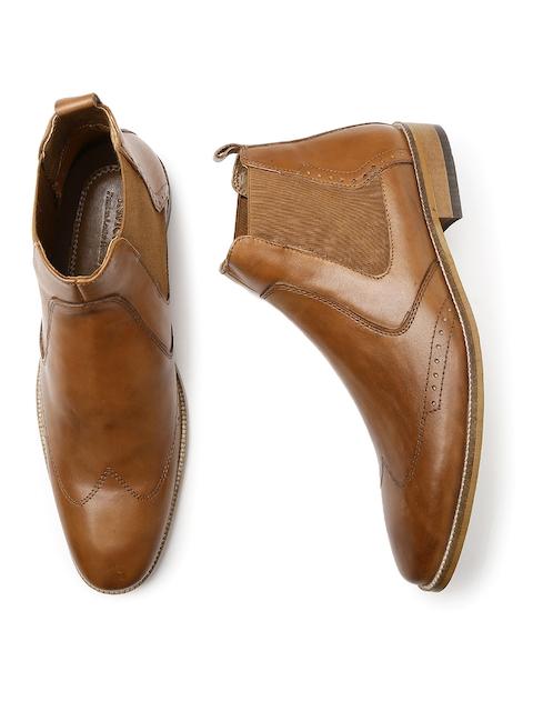 INVICTUS Men Tan Brown Leather Semiformal Boots