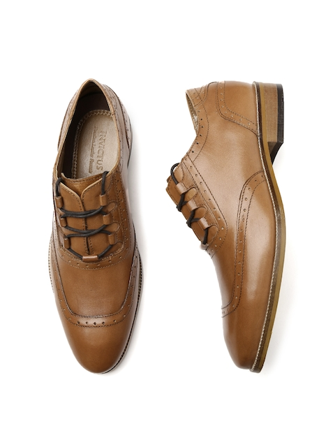 INVICTUS Men Tan Brown Leather Brogues